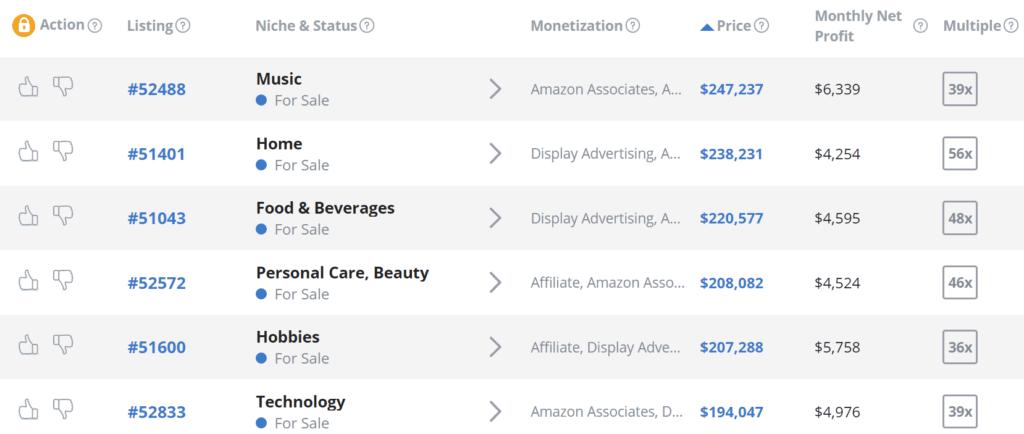 國外知名網站拍賣平臺,Empire Flippers 所上架的亞馬遜聯盟行銷網站,它們的售價都是以網站的平均每月淨收入的數十倍的價格叫價售賣。