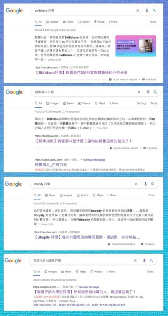 衆多文章贏得 Google 精選摘要 Featured Snippet,以及排名首頁第一名